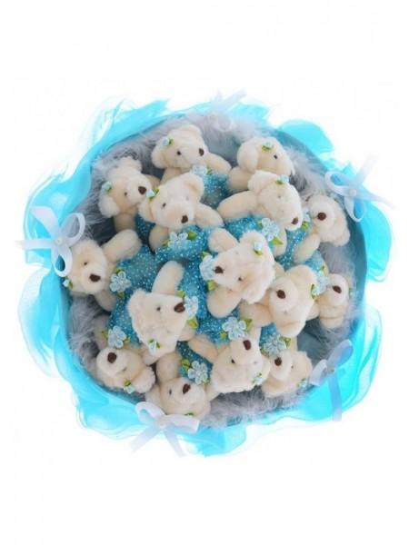 Букет из 15 мягких игрушек медвежат.