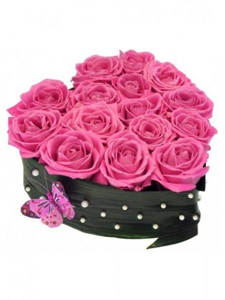 Сердце из 15 роз